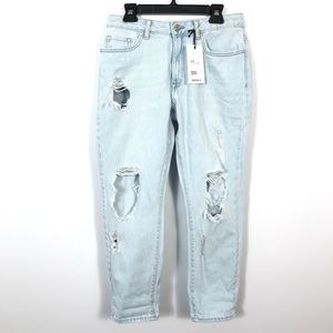 ❤️Forever 21 mid rise straight crop jeans distress